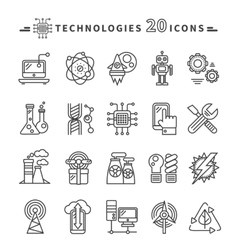 Technologies Black Icons on White Background vector