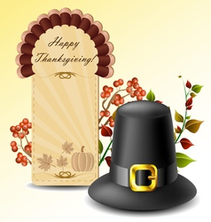 Thanksgiving card and hat with autumn plants vector image
