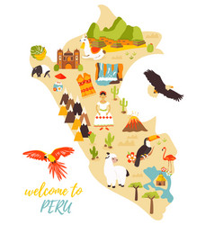 Tourist map peru with different landmarks vector