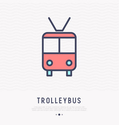Trolleybus thin line icon front view vector