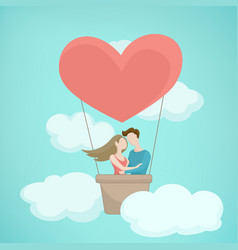 Valentine day concept heart shape hot air baloon vector