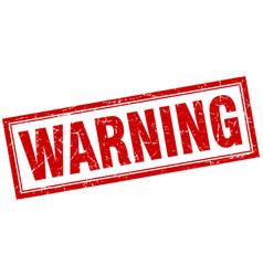 Warning red square grunge stamp on white vector