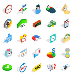 working hour icons set isometric style vector image