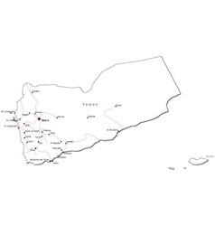 Yemen Black White Map vector image