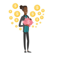 Young african businessman holding a piggy bank vector