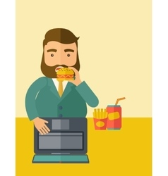 Young fat guy eating while at work vector