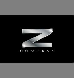 Z silver metal letter company design logo vector