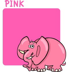 Color Pink and Elephant Cartoon vector image