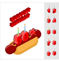 Discounts for birthday when buying hot dog Candles vector image vector image
