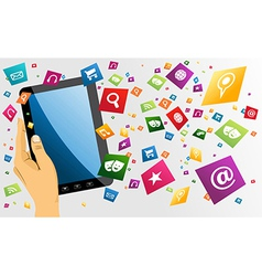 Human hand holds tablet pc with app icons vector image