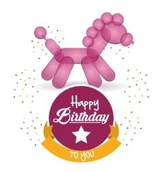 cute balloon horse happy birthday confetti ribbon vector image