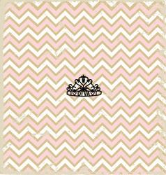 Pink zig zag pattern background vintage with tiara vector