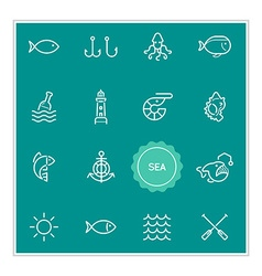 Set of sea food elements can be used as logo or vector