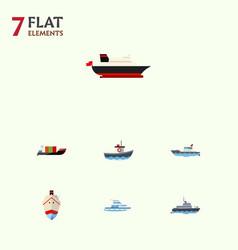flat icon ship set of boat sailboat transport vector image