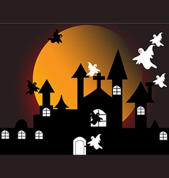 halloween with haunted house vector image vector image