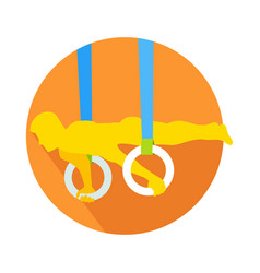 man on gymnastic rings web button sportsman vector image
