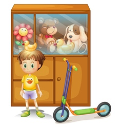 A young boy with his scooter and his toys in a vector image
