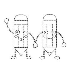 cartoon pencils kawaii character funny vector image
