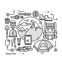 Mountains with Snow Peaks and Tourist Equipment vector image vector image
