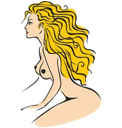 nude lady color vector image