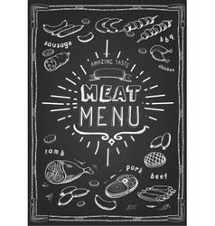 Retro meat menu icons on chalkboard with lamb vector