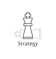 Strategy with thin line chess king vector