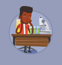 Student working in laboratory class vector