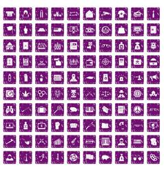 100 criminal offence icons set grunge purple vector image
