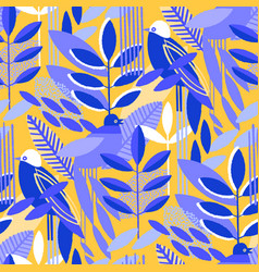 abstract seamless pattern minimalistic leaves vector image