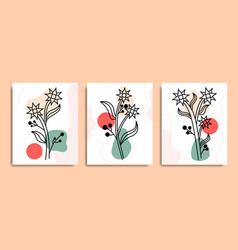 Aesthetic minimal line art boho flowers design vec vector