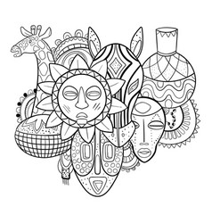 African tribal art print with masks vector