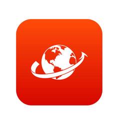 airplane fly around the planet icon digital red vector image