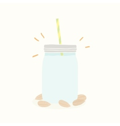Almond milk in jar vector image
