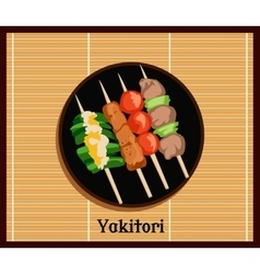 Asian Yakitoris Skewers Set vector image