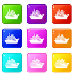 big ship set 9 vector image