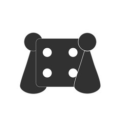 Black icon on white background board game and dice vector