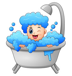 Boy taking a bath with soap vector