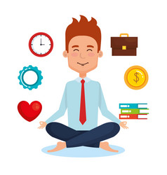 Business people meditation lifestyle with business vector