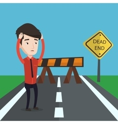Businessman looking at road sign dead end vector image