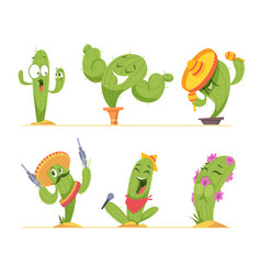cactus characters mexico authentic plants happy vector image