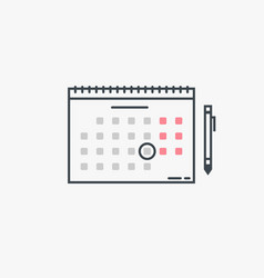 calendar and pen vector image