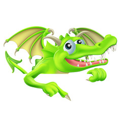 cartoon dragon pointing down vector image