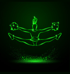 cheerleader jumps and doing splits vector image