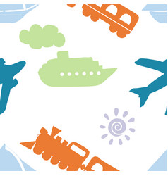 childish seamless pattern with train ship vector image
