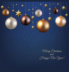 christmas garland with ball and star vector image