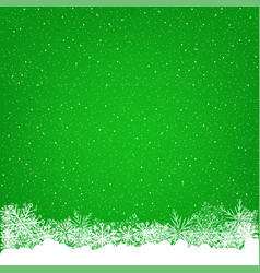 christmas snowfall green background vector image