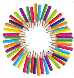 circle background of colored pencils for vector image