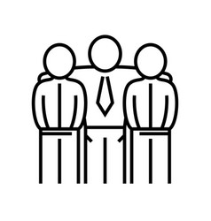 Collegues friendship line icon concept sign vector