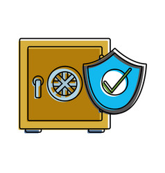 color strong box object with shield security vector image