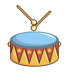 colorful drum and drumsticks icon cartoon style vector image